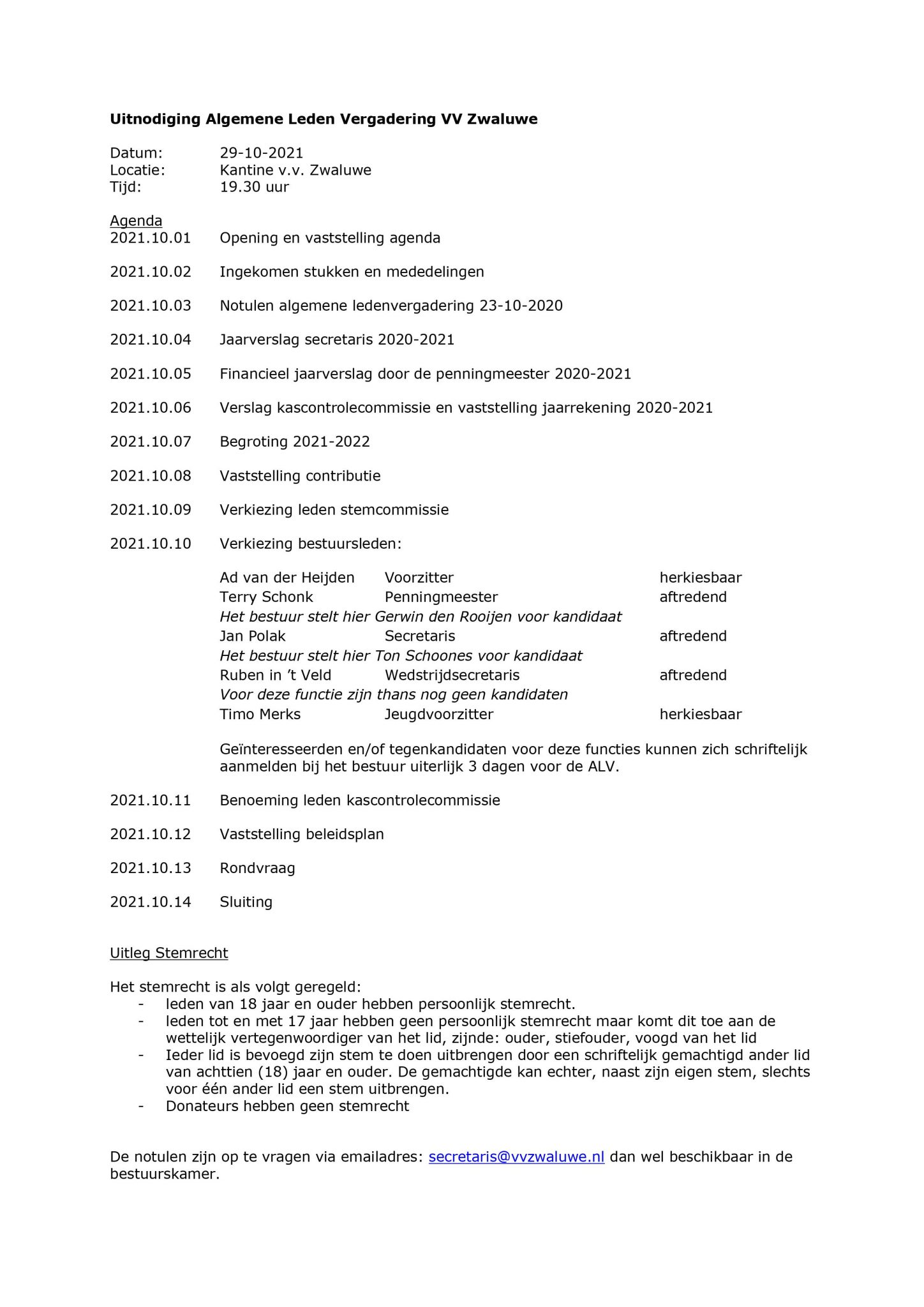 Algemene ledenvergadering 2021