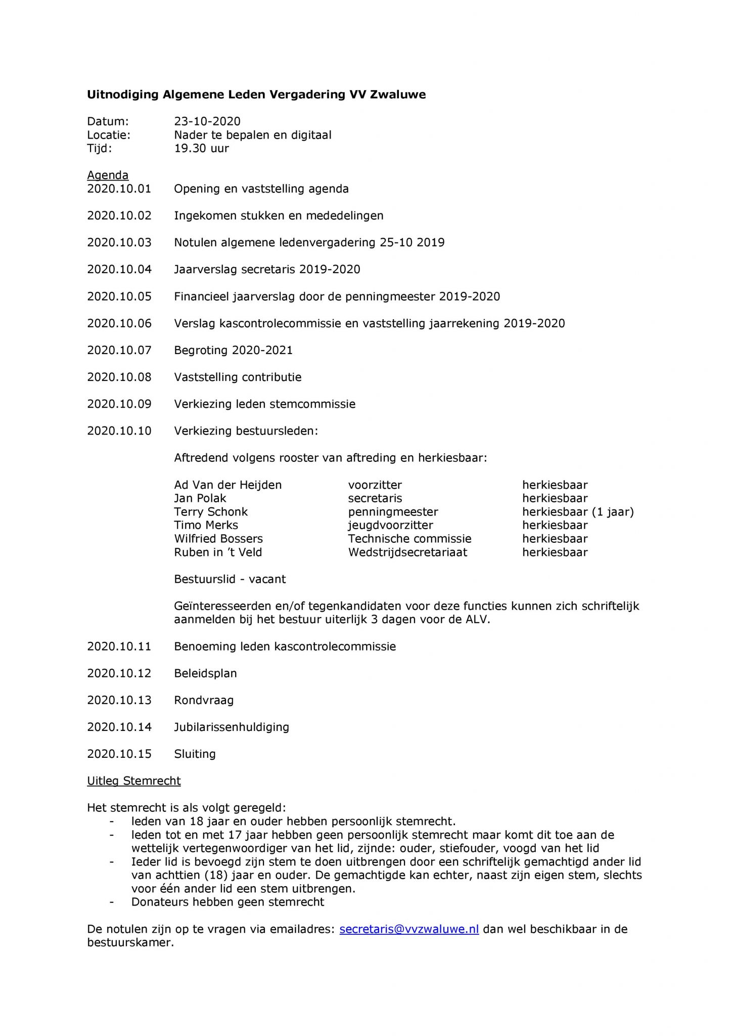 Algemene ledenvergadering (Aanmelden verplicht)