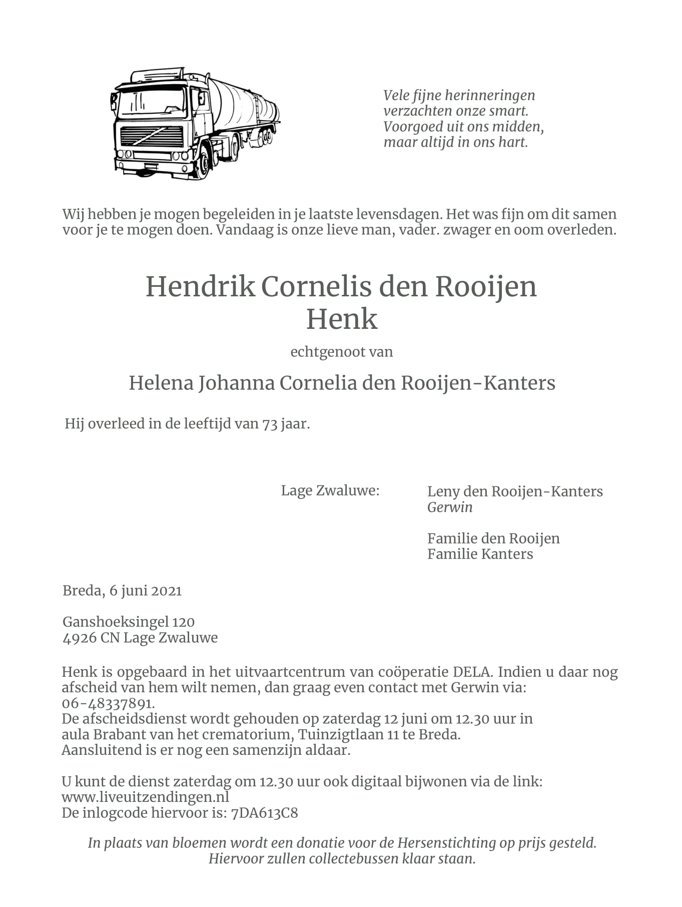 In memoriam Henk den Rooijen