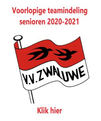 Voorlopige teamindeling Senioren 2020-2021